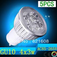 5pcs/lot Free shipping Dimmable High Power GU10 E27 E14 B22 4X3W 12W LED Light Bulb Downlight LED Lamp Spotlight LED Lighting