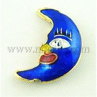 Handmade Cloisonne Beads,  Moon,  Sapphire Blue,  21mm long,  15mm wide,  6mm thick,  hole: 2mm