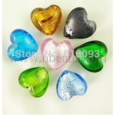 Handmade Silver Foil Glass Beads, Heart, Mixed Color, about 12mm in diameter, 8mm thick, hole: 2mm(China (Mainland))