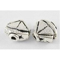 Tibetan Style Beads,  Lead Free & Cadmium Free,  Fan & Nickel Free,  Fan,  Antique Silver,  about 9mm long,  9mm wide