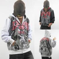 2013 New Mens Hoodie Coat clothes outwear fall coats men's jacket fashion print hooded pullover sweatshirt Black/White Rhino
