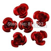 Aluminum Rose Flower,  Tiny Metal Beads,  Crimson,  12x7mm,  Hole: 1mm; about 920~950pcs/bag