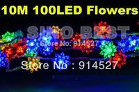 Free Shipping Romantic 10M 100 LED Flower String Lights 220V 110V Multi Colors RGB Christmas Xmas Wedding Holiday Decorations