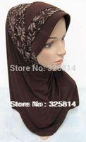 Fashion Lace Flower Design Ice Cotton Superior Quality Muslim Hijab,Islamic Silk Scarf,Arabic Popular Scarves Free Shipping