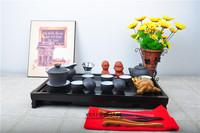 Classic drinkware includes 43cm*28cm*5.5cm solid wood tea tray + famous YiXing kung fu tea set + funny tea figure