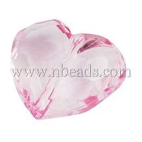 Stock Deals Transparent Acrylic Beads,  Heart,  Pink,  about 25mm long,  28.5mm wide,  16mm thick,  hole: 3mm