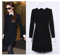 2014 Black and White Collar Slim Long Sleeve Women's Casual Elegant Dress For S M L Size