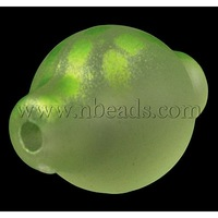 Rubberized Acrylic Beads,  LightGreen,  about 34mm long,  24mm wide,  hole: 3.5mm,  about 51pcs/500g