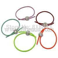 Stock Deals Rubber Bracelet Making,  Plastic Clasps,  Platinum,  Mixed Color,  about 60mm inner diameter