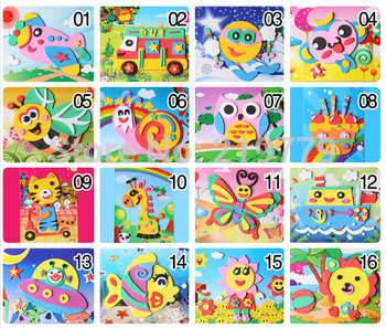 20 Designs/lot 13*17cm DIY Handmade 3D Eva Foam Puzzle Sticker Self-adhesive eva crafts toys learning & education Toys