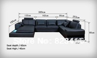 2014 hot selling U shape leather sofa with lowest price shippingment
