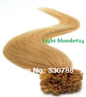 Top quality blonde brazilian hair stick tip human hair extensions keratin nail stick sail tip virgin hair light blonde#24