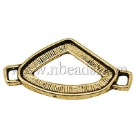 Tibetan Style Connectors,  Lead Free & Cadmium Free & Nickel Free,  Triangle,  Antique Golden Color,  Size: about 37mm long
