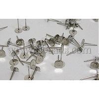 Iron Earstuds,  Platinum,  about 6mm in diameter,  11mm long,  0.8mm thick