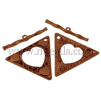 Tibetan Style Toggle Clasps,  Lead Free and Nickel Free,  Triangle,  Red Copper Color,  Size: Toggle: 47mm long,  53mm wide