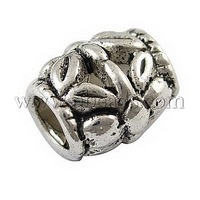 Alloy European Beads,  Large Hole Beads,  Lead Free & Cadmium Free & Nickel Free,  Barrel,  Antique Silver