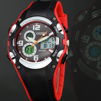 2013 original Ohsen brand sport watch Wristwatch men childrens silicone band digital display diving red military watches as gift