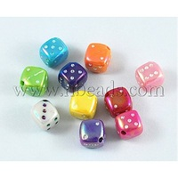 Stock Deals Opaque Acrylic Beads,  Dice,  AB Color,  Mixed Color,  Size: about 8mm long,  8mm wide,  hole: 1.5mm,  1030pcs/500g