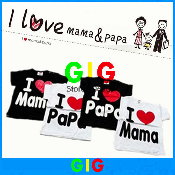 Wholesale baby Short-Sleeve Shirt baby Tee shirt boy and girl T-shirt love papa mama shirt 100% cotoon short shirt 10pcs/lot(China (Mainland))