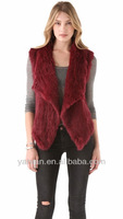 Promotion Free shipping HOT SALE YR-827 Top quality Genuine Rabbit Knitted Fur Vest Lots Of Colors