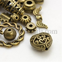 Stock Deals Alloy Finding Beads,  Mixed Shape,  Antique Bronze,  4~50x4~40mm,  Hole: 1~5mm
