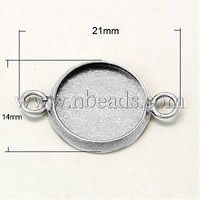 Stock Deals Brass Cabochon Connector Settings,  Flat Round,  Silver Color,  21x14mm,  hole: 1.5mm,  tray: 12x1.5mm