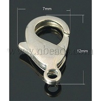 Brass Lobster Claw Clasps,  Nickel Free,  Platinum Color,  about 12mm long,  7mm wide,  3mm thick,  hole: 1mm