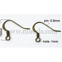 Stock Deals Brass Earring Hooks,  Antique Bronze,  15mm wide,  Pin: 0.6mm,  Hole: 1mm