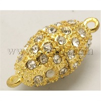 Alloy Magnetic Clasps,  With Rhinestone,  Oval,  Golden,  25x13mm,  Hole: 2mm