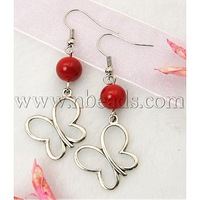 Stock Deals Fashion Earrings,  with Tibetan Style Pendant,  Glass Beads and Brass Earring Hook,  Red,  53mm