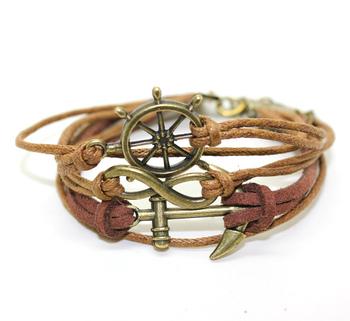 Free Shipping !! Braided PU Leather Bracelet Vintage Sideway Alloy Anchor Infinity Symbol Digit 8 Charm Bracelet  B2-073