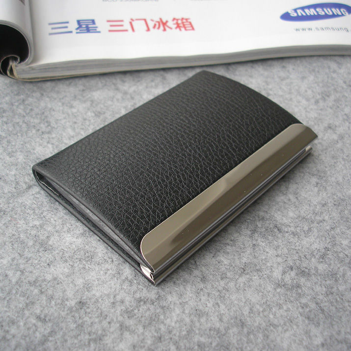 leatherette and stainless steel business name card ID card holder case box organizer 1187(China (Mainland))