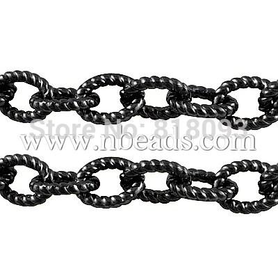 Aluminium Cross Chains, Oval, Black, 21x16x4mm(China (Mainland))