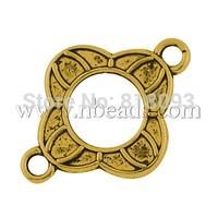 Tibetan Style Connectors,  Flower,  Lead Free,  Antique Golden,  21x16x2mm,  Hole: 2mm