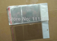 Self Adhesive Seal White Clear Transparent packaging bag Hanging Bags Plastic Retail 13.5X8CM 300pcs/lot for phone cover ,socks