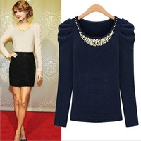 Promotion Women Slim Casual Blouse O-neck with Beading,Pullover shirts blusas femininas tops Blue, Ivory