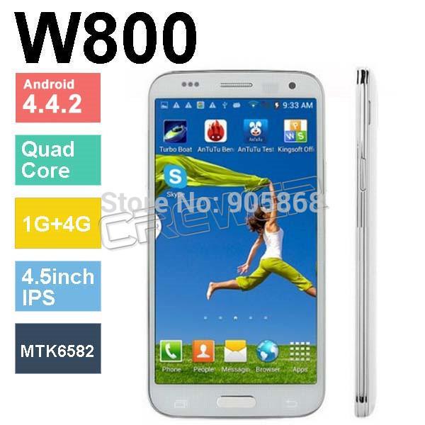 Étoile w800 mini. s5 4.5 pouces. mtk6582 quad core 1g +4g rom android. 4.4.2 soutienos 8.0mp caméra. 3g dual sim wifi gps téléphone cellulaire navire libre
