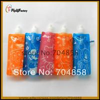 Free Shipping! Outdoor sport portable folding cartoom water bottle/foldable water bottle  kitty water bag 480ml 50pcs/lot