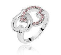 Korean jewelry created Diamond Double Heart Ring Ring - Heart to Heart multicolor selection mixed batch