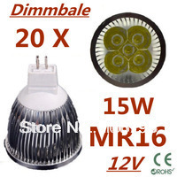 20pcs/lot Dimmable LED High power MR16 5x3W 15W led Light led Lamp led Downlight led bulb spotlight Free shipping