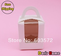 Free Shipping single white paper cupcake muffin cake box  with insert