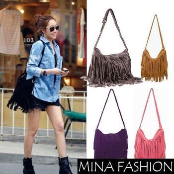 2014 New Fashion Shoulder Bag + Vintage Tassel Cross Women Messenger Bags Popular Women Handbag  bag-0014 Free Shipping
