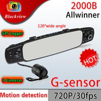 Newest 2000B HD 720P Night Vision Car DVR Camera Three Lens 360 Degree Wide Angle+G-sensor+PIP+HDIM Car Rearview Mirror Recorder