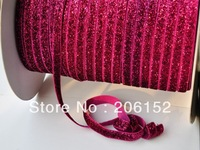 Hot  sale 3/8 glitter elastic  200yards 10colors for make hair tie headband DIY FREE SHIPPING