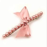 Free shipping girl hair clip The handmade fishing line beaded pearl bow hairpin word folder jewelry