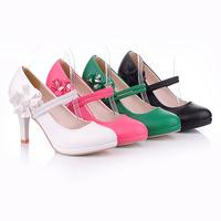 New 2014 Flower princess pumps for wamon bridal shoes wedding shoes white/red/black women's fashion bandage shoes plus size