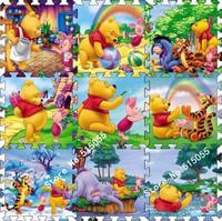 Promotion price 9 Pcs/lot Cartoon Floor Mat Baby's Climb Blanket Eva Foam Puzzle Mat Game Carpet Winnie Crawling Rug