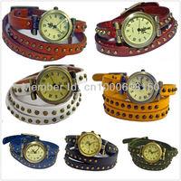 High Quality 7 Colors Women Genuine Leather Vintage Casual Watch Clock Lady Antique Bracelet Quartz Relogio Feminino Wristwatch