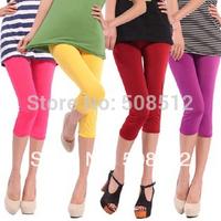 PS-S010 Women's fashion elasic  vivid colorful half length leggings,  summer CROPPED leggins, soft hand feel, good stretch