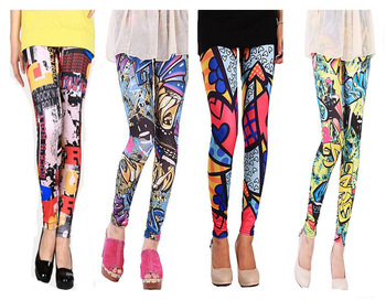 New 2013 High Waist Patterned Fashion Leggings  Street Brand Punk Printed Skinny Leggings For Women Mix Colors